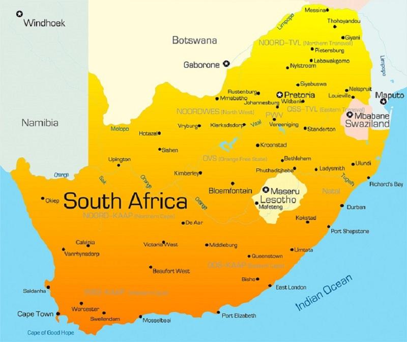 Mapa das cidades da África do Sul